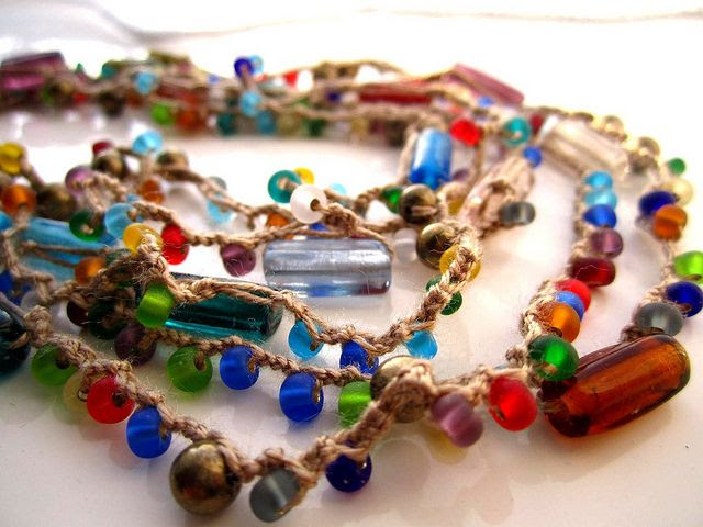 Crochet necklace by Bohemian Hooks, via Flickr; inspiration for recycling beads from necklaces which are no longer in use