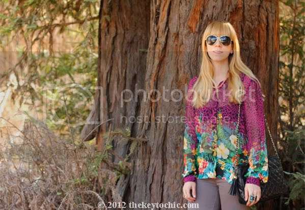 tropical print blouse, J Brand skinny jeans, Princess Vera Wang glitter boots, Los Angeles fashion blog