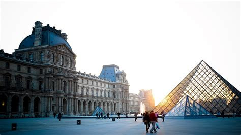 full hd wallpaper louvre glass pyramid side view sunset