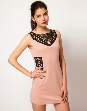 Image 1 of House Of Dereon Cut Out Dress With PU