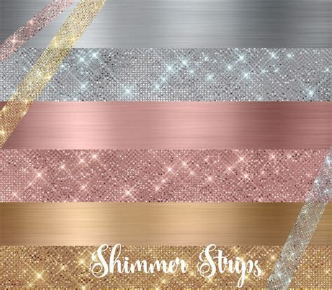 Shimmer Strips Clipart   Rose Gold, Gold and Silver