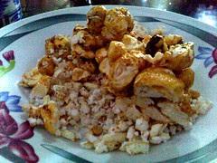 Vietnamese Honey Smacks on top of Rice Krispie Treats