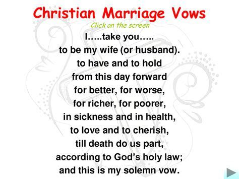 Marriage Wedding Vows   Christian Marriage Vows..i love