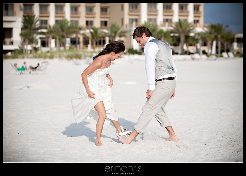 Bride and Groom Playing Soccer