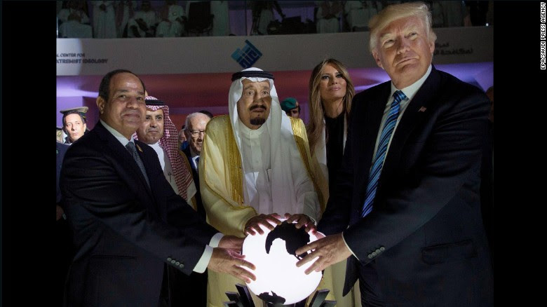 Sisi (L), King Salman (C) and Trump open a new counter-terrorism center in Riyadh.