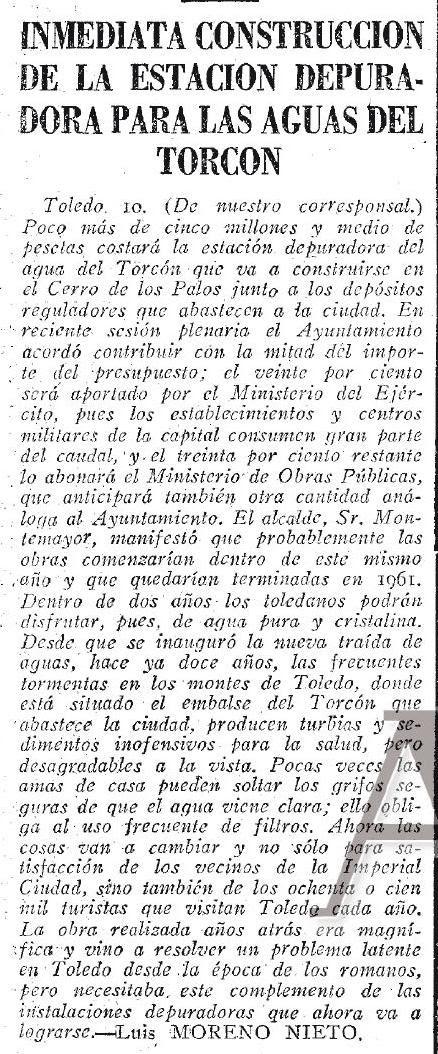 Noticia de la construcción de una depuradora de aguas del Torcón. ABC DEL 11 DE AGOSTO  de 1959.