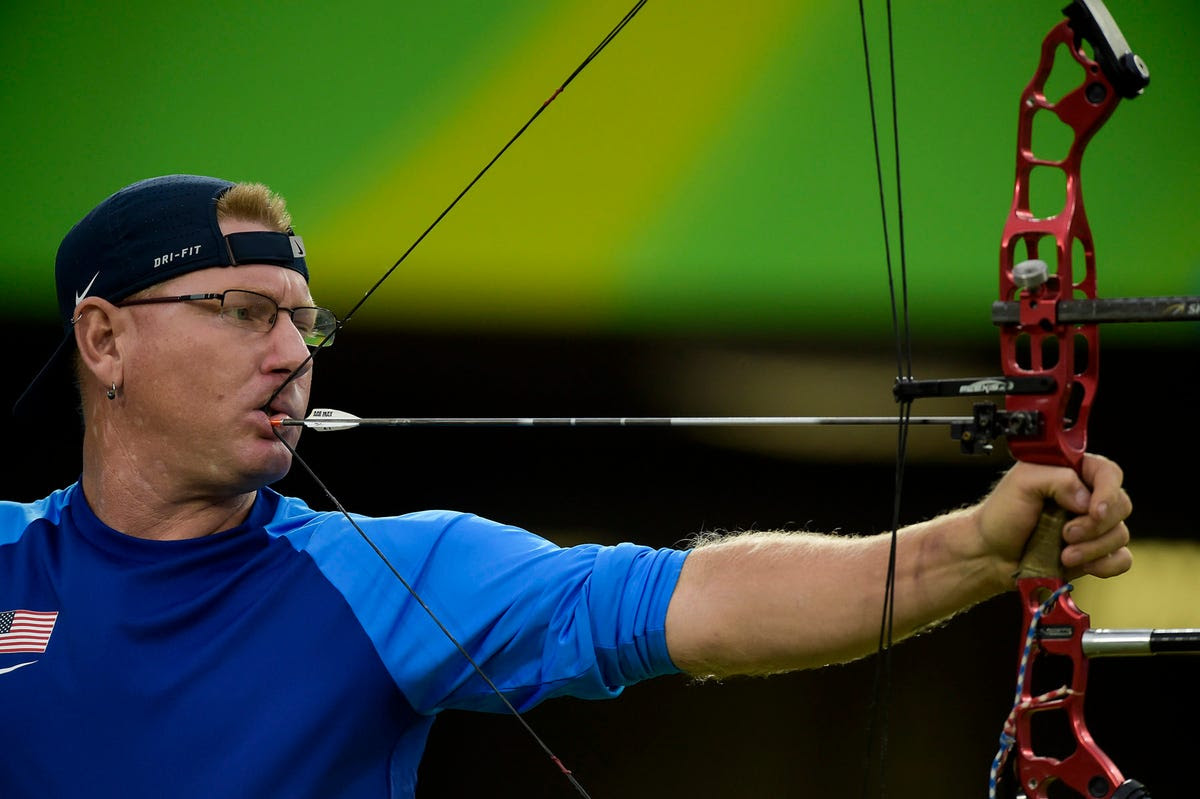 Jeff Fabry of Team USA competes in archery.