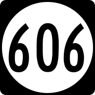 English: Circular route shield 606