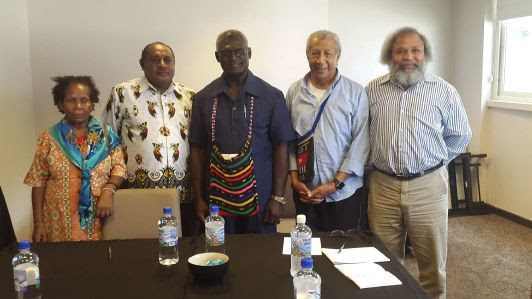 United Liberation Movement for West Papua members Mama Yosepha Alomang, Edison Waromi, Andy Ayamiseba and Jacob Rumbiak with the Solomon Islands prime minister Manasseh Sogavare (centre),