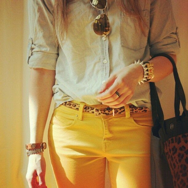 Leopard Print, Yellow Jeans