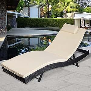 Amazon.com : Giantex Adjustable Pool Chaise Lounge Chair ...