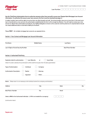 flagstar third party authorization form Fill Online, Printable ...