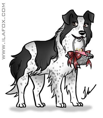 ilustração cachorro, border collie segurando alianças, by ila fox
