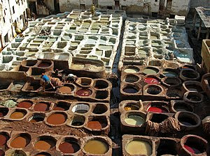 Leather tanning, Fes, Morocco