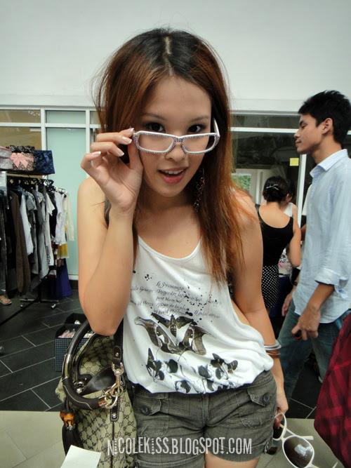 wearing bling glasses