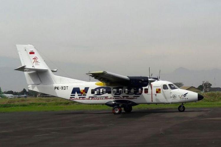 Pesawat N-219 hasil pengembangan riset PT Dirgantara Indonesia (DI) dan Lembaga Penerbangan dan Antariksa Nasional (LAPAN) menjalani uji terbang dengan mulus, Rabu (16/8/2017).