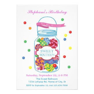 Candy Mason Jar Sweet Sixteen Invitation