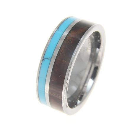 Linus Mens Tungsten Wedding Band With Turquoise & Genuine