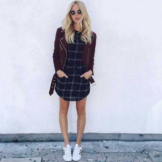 Le Fashion Blog 25 Ways To Wear Adidas Sneakers Suede Burgundy Moto Jacket Plaid Dress Superstar Shea Marie Via Peaceloveshea