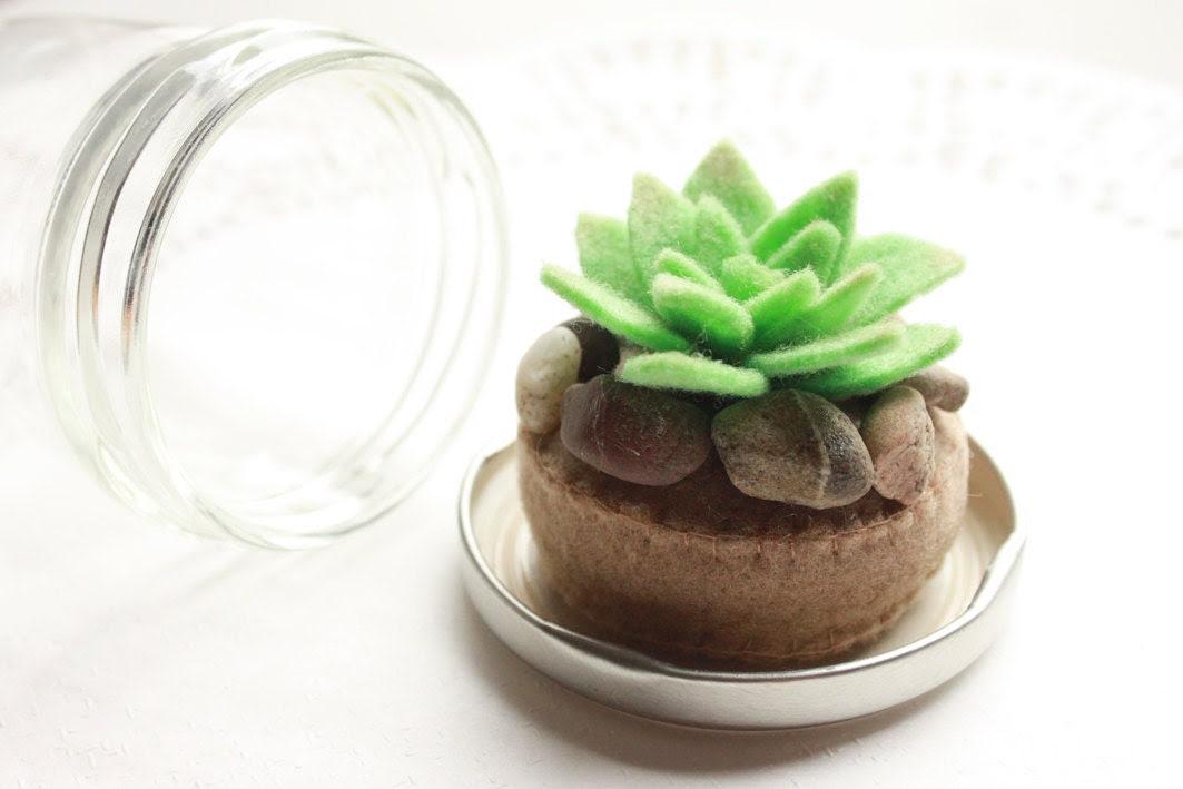 Mini Felt Terrarium - Cactus and Stones in a Little Glass Jam Jar