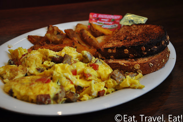 Boudin SF- Irvine, CA: Sausage and Tomato Scramble