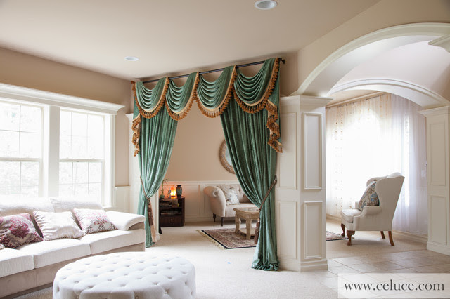 Green Chenille Swag Valance Curtains - Modern - Living ...