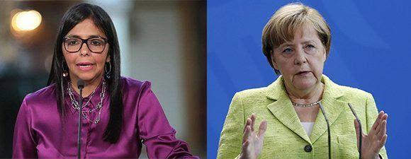 Delcy Rodríguez (izq), canciller de Venezuela, respondió a las declaraciones de Angela Merkel, jefa de Estado de Alemania. Foto:  Twitter/ EFE/ Cubadebate.