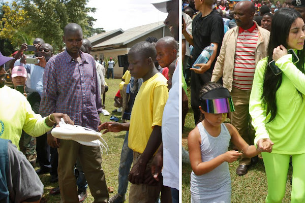 4e8b05cfbee Kanye West hands out Yeezys to Ugandan children as he and Kim tour Africa