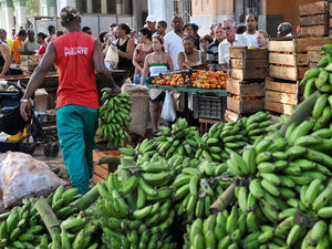 Cubans line up to buy produce at a market in Havana in May.