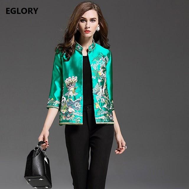 Beste Kopen 2018 Herfst Plus Size Jas Vrouwen New Brand Chinese Stijl Vintage Lurex Borduren Bloemen Vogel Elegante Vrouwelijke Uitloper Goedkoop