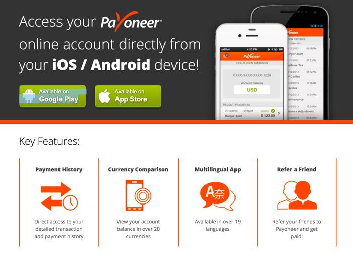 Payoneer mobile app