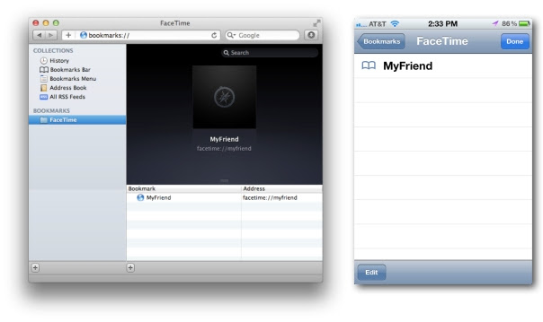 FaceTime Safari Bookmark