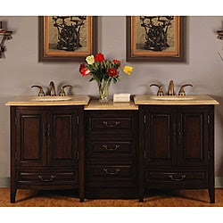 Silkroad Exclusive 72-inch Stone Counter Top Bathroom Vanity ...