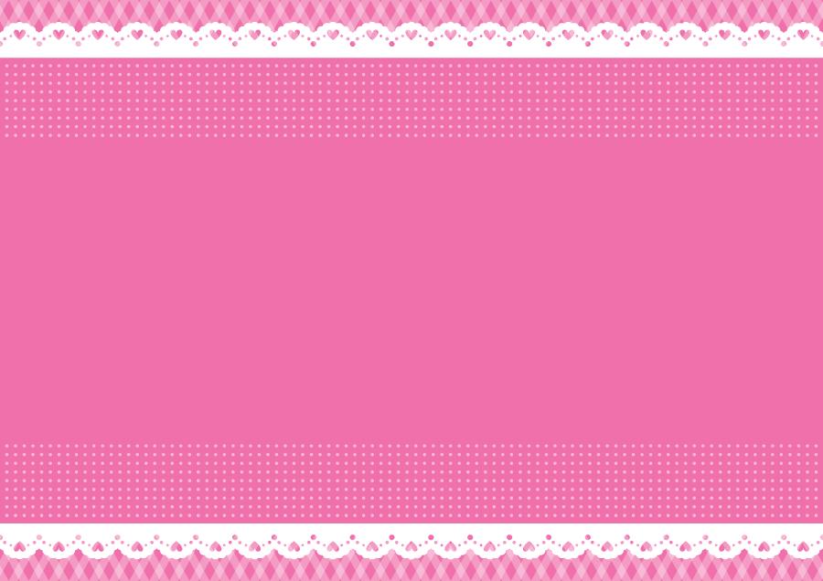 フリーイラスト ハートのレースとピンク色の飾り枠でアハ体験 Gahag