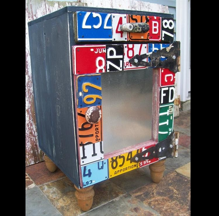 Fun and Funky Furniture - Side Cabinet - End Table - Night Stand - Book Case Bookcase - Shelf - Recycled Vintage License Plate Art - Salvaged Wood - Upcycled Artwork