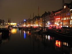 The Nyhavn canal at night