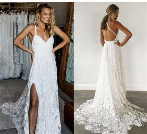 Simple Elegant Lace Beach Wedding Dresses Crisscross Back