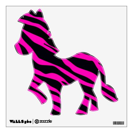 Hot Pink Zebra Striped 12 x 12 Room Graphics