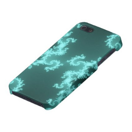 Neon Blue Hypnotic Fractal Swirls Cover For iPhone 5