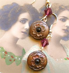 vintage buttons turned earrings ~ great idea!