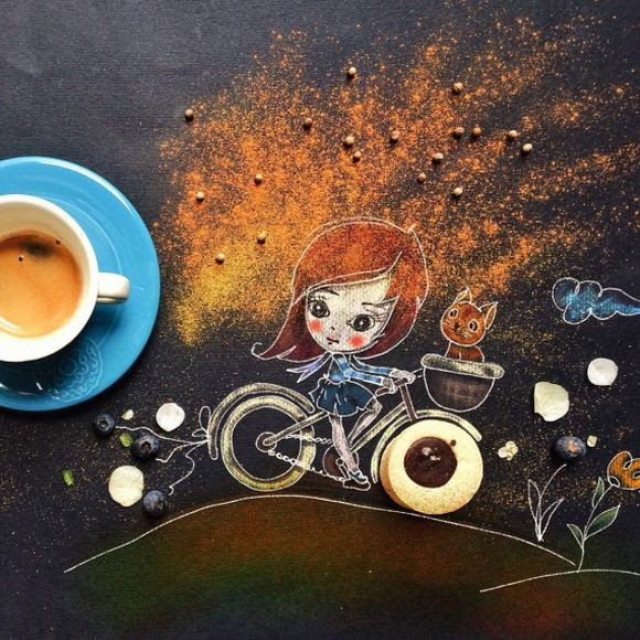 every day story illustration with a cup of coffee by Cinzia Bolognesi