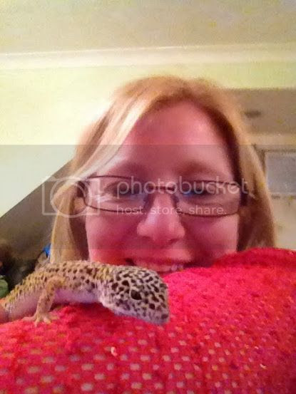 holding a gecko