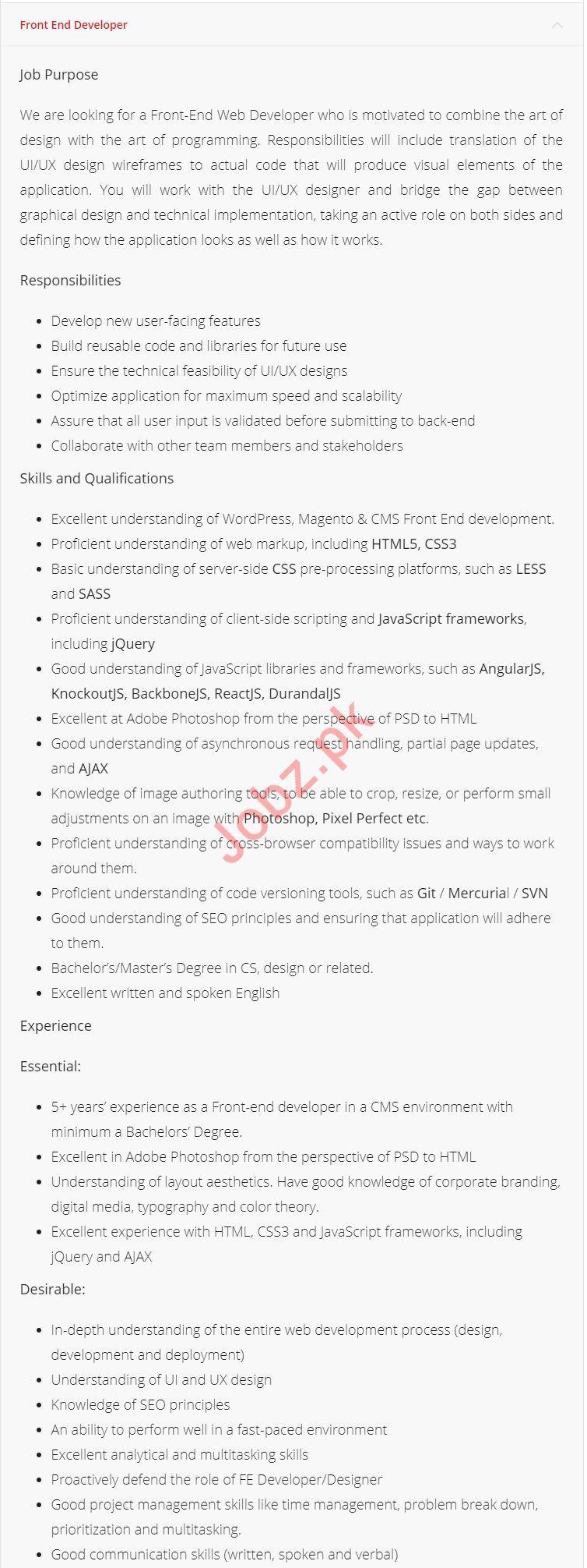 Front End Developer Jobs 2019