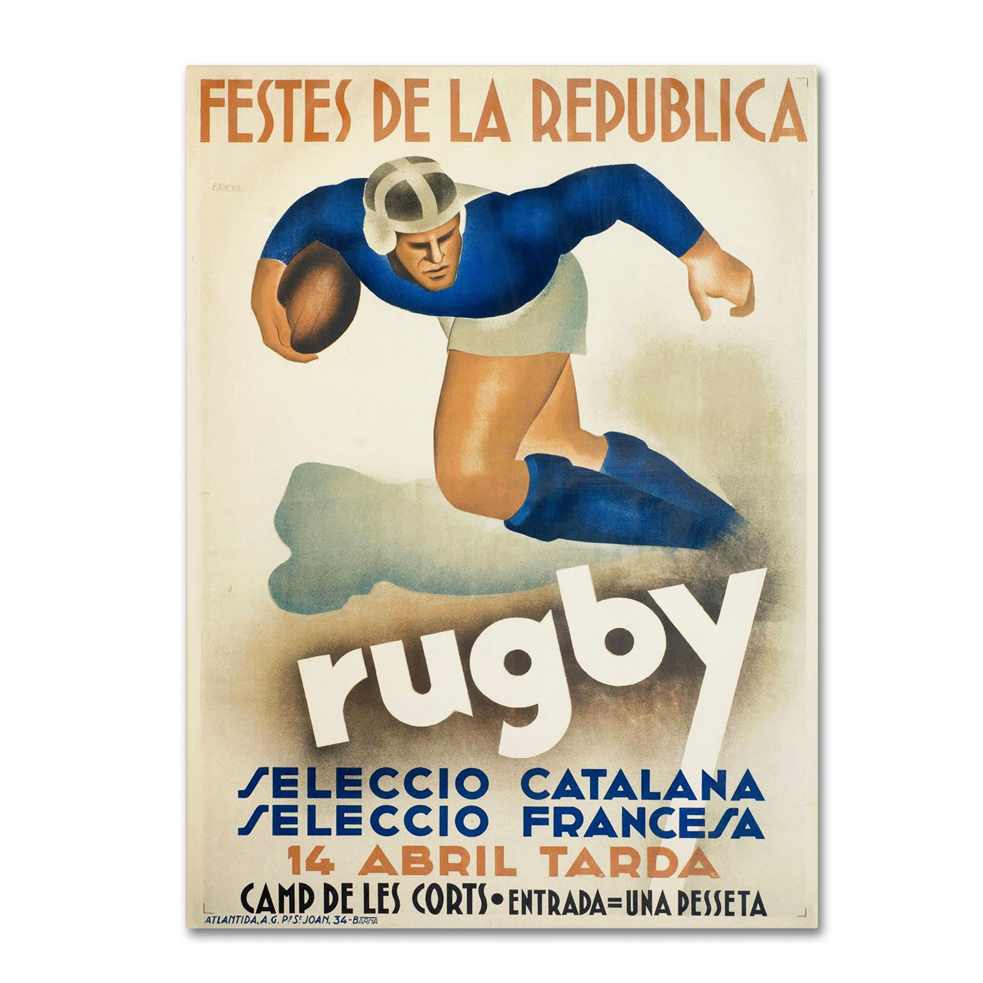 Festes de la Republica  Rugby  Selecció catalana - Selecció francesa  14 abril tarda  Camp de Les Corts  Entrada=una pesseta