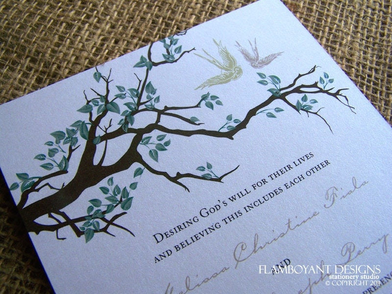 Swooping Swallows and a Tree Branch Wedding Invitation Printed on Luxury Eco