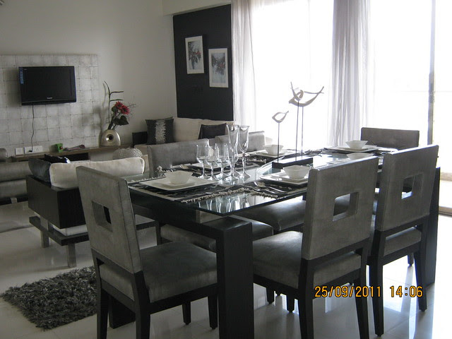 Dining cum living of a 3 BHK Sample Flat in Tower 1 at Paranjape Schemes' Blue Ridge, Hinjewadi Phase 1, Pune