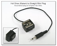 HS1009: Hot shoe adapter with assembled straight mini plug on original thin wire