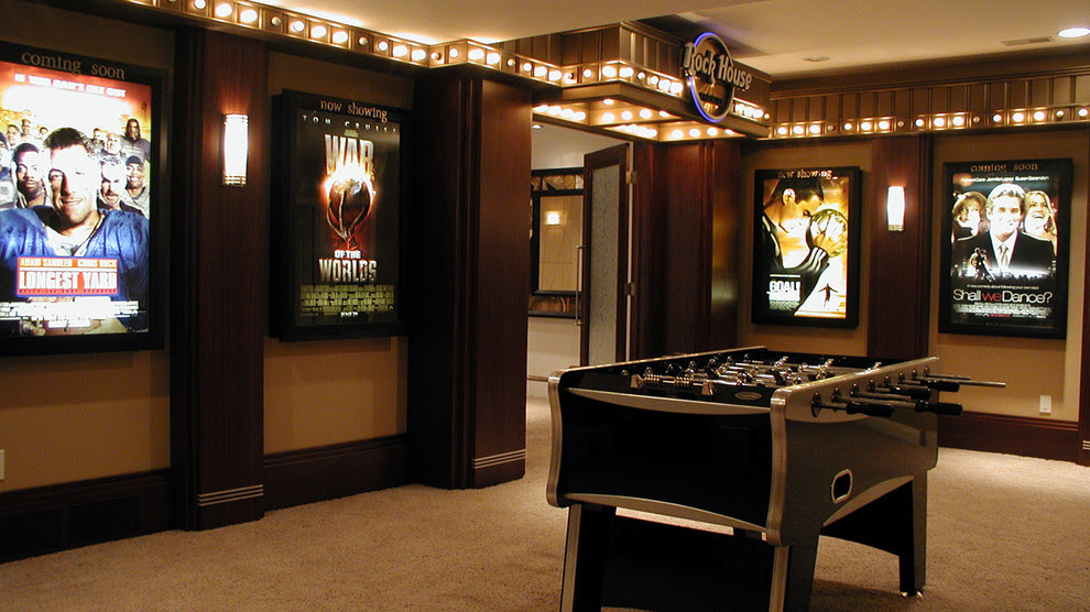 Glamorous Foosball Table For Sale In Home Theater Contemporary With Home Theatre Lighting Next To Edison Bulb Alongside In Home Movie Theater And Basement Hockey Rink
