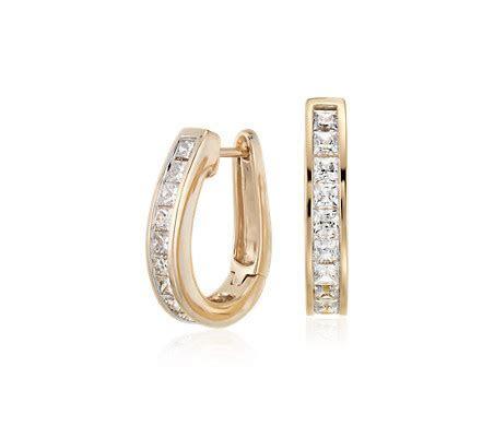 Princess Cut Hoop Diamond Earrings in 14k Yellow Gold (1.5