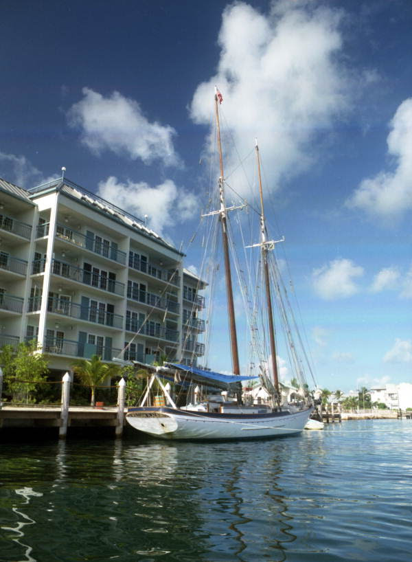 "The schooner ""William H. Albury"" docked at the Galleon Resort in Key West, Florida."